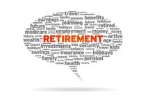 Retirement. Word speech bubble on white background Stock Photos