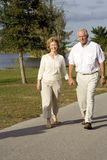 Retirement. Happy senior couple walking in a park Royalty Free Stock Images