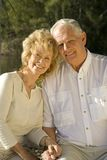 Retirement. Happy senior couple sitting in a park Stock Photography