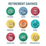 Retirement Account and Savings Icon Set w Mutual Fund, Roth IRA, etc. Retirement Account & Savings Icon Set - Mutual Fund, Roth IRA, etc
