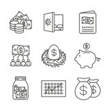 Retirement Account and Savings Icon Set w Mutual Fund, Roth IRA, etc. Retirement Account & Savings Icon Set - Mutual Fund, Roth IRA, etc stock illustration