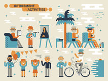 Retirement Activities. Illustration of retirement activities concept with many elderly characters Stock Photos