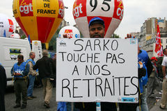 The retirement age strike in Paris Stock Photography