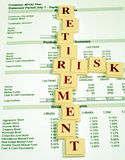 Retirement Assets and Risk. This is a close up image of a 401(k) statement with the words retirement and risk stock photography