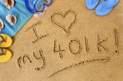 Retirement planning love investment fund concept 401k beach writing Royalty Free Stock Image