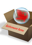 Retirement Box. Cardboard retirement box ready to move Royalty Free Stock Images