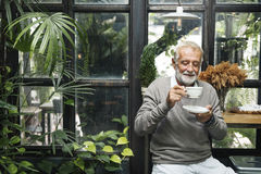 Retirement Cafe Pensioner Leisure Rest Man Concept royalty free stock image