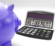 Retirement On Calculator Shows Pensioner Retired Decision Stock Photos