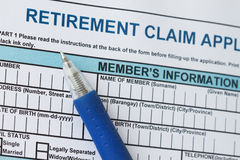 Retirement claim application form Royalty Free Stock Images
