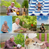 Retirement. Collage of senior man activities in retirement Royalty Free Stock Photography