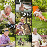 Retirement. Collage of senior man activities in retirement Royalty Free Stock Photos