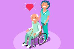 Retirement Community Isometric People Vector Royalty Free Stock Photo