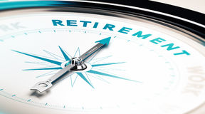 Retirement. Compass with needle pointing the word retirement, concept image to illustrate retirement planning Stock Images