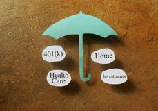 Retirement concept. Retirement and investing terms under a paper umbrella - retirement planning concept Stock Images