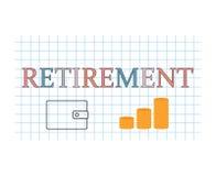 Retirement concept. Retirement word written on checkered paper texture- vector illustration vector illustration