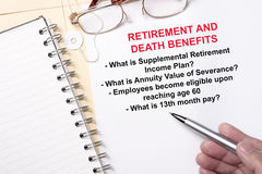 Retirement and Death benefits Royalty Free Stock Photo