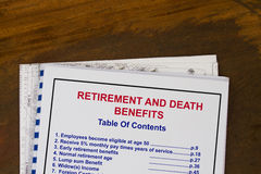 Retirement and death benefits Stock Image