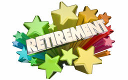 Retirement Farewell Going Away Employment Ending Star. Retirement Farewell Going Away Employment Ending 3d Stars Words Stock Photo