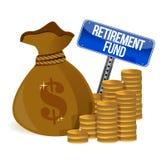 Retirement fund money bag. Illustration design over a white background Stock Photos
