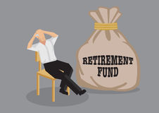 Retirement Fund for Senior Vector Cartoon Illustration Stock Photos