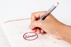 Retirement handwritten. Retirement handwritten in to calendar page Stock Photos