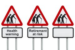 Retirement and health roadsign Stock Images