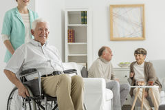 Retirement home with elder man Royalty Free Stock Photos