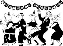 Retirement home Hanukkah Party. Group of active seniors dancing conga line at Hanukkah party, EPS 8 vector line art, no white objects, only black