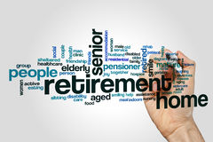 Retirement home word cloud. Concept on grey background Stock Photography