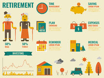 Retirement. Illustration of retirement infographic with old people and icon elements Royalty Free Stock Images