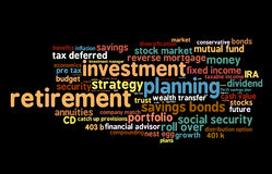 Retirement Investing. Cloud of words pertaining to strategies and advise for a comfortable retirement planning through investing