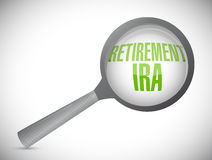 Retirement ira magnify glass review. Illustration design over a white background stock illustration