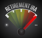Retirement ira speedometer illustration. Design over a black background Stock Photos