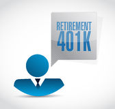 Retirement 401k avatar sign concept Royalty Free Stock Image