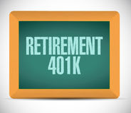 Retirement 401k board sign concept. Illustration design over white Royalty Free Stock Photography
