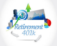 Retirement 401k business sign concept Stock Image