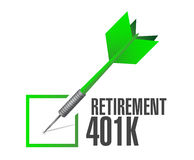 retirement 401k check dart sign concept Stock Photography