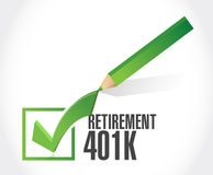 Retirement 401k check mark sign concept. Illustration design over white Stock Photo