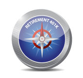 Retirement 401k compass sign concept Stock Image