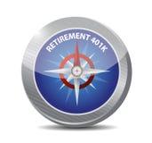 Retirement 401k compass sign concept Stock Image