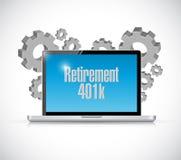 Retirement 401k computer technology sign concept Stock Images