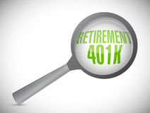 Retirement 401k magnify glass sign concept Royalty Free Stock Photo