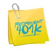 Retirement 401k memo post sign concept. Illustration design over white Royalty Free Stock Photography