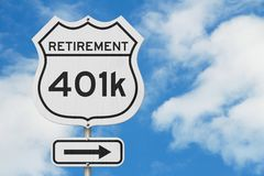 Retirement with 401k plan route on a USA highway road sign. With sky background royalty free stock image