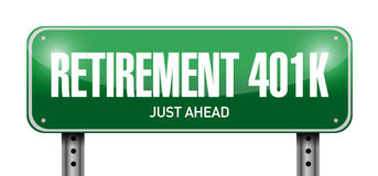 Retirement 401k road sign concept Royalty Free Stock Photos