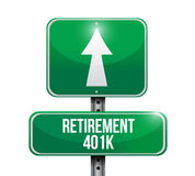 Retirement 401k road sign illustration design. Over white Stock Photography