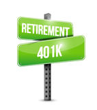 Retirement 401k street sign concept Stock Photo