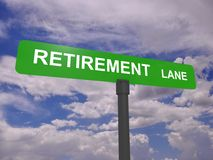 Retirement lane signpost Stock Photos