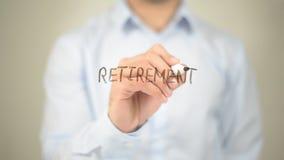 Retirement,  Man writing on transparent screen Stock Photo