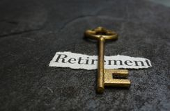 Retirement message and key Royalty Free Stock Photo